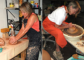 The process begins by preparing the clay and shaping the vessel on the wheel