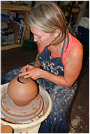 Susan Barrett with pottery
